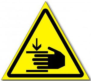 """Табличка """"Осторожно, возможно травмирование рук"""""""