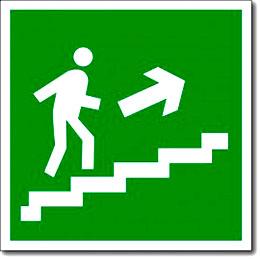 """Табличка """"Направление к эвакуационному выходу по лестнице вверх"""""""