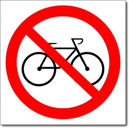 """Наклейка """"Вход с велосипедами запрещен"""""""