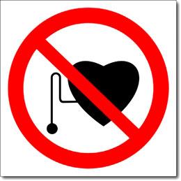 """Знак """"Запрещается присутствие людей со стимуляторами сердечной деятельности"""""""