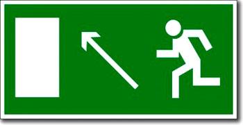 """""""Направление к эвакуационному выходу направо вверх"""" табличка"""