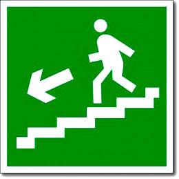 """Табличка """"Направление к эвакуационному выходу по лестнице вниз"""""""