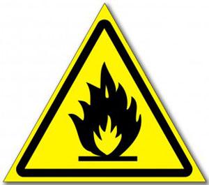 """Наклейка """"Пожароопасно, легковоспламеняющиеся вещества"""""""