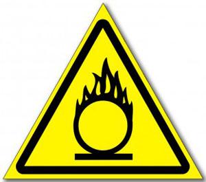 """Табличка """"Пожароопасно окислитель"""""""