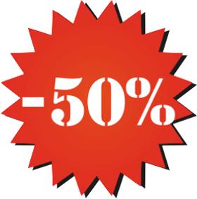 Наклейка минус 50%