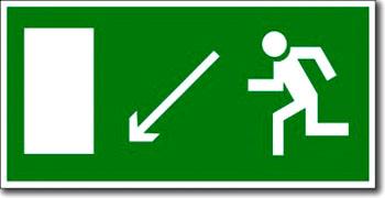 """""""Направление к эвакуационному выходу налево вниз"""""""